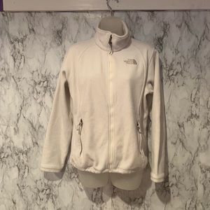 The North Face White Zip Up Fleece Jacket Coat